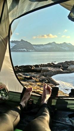 biwak na Ersfjorden, Senja, Norwegia