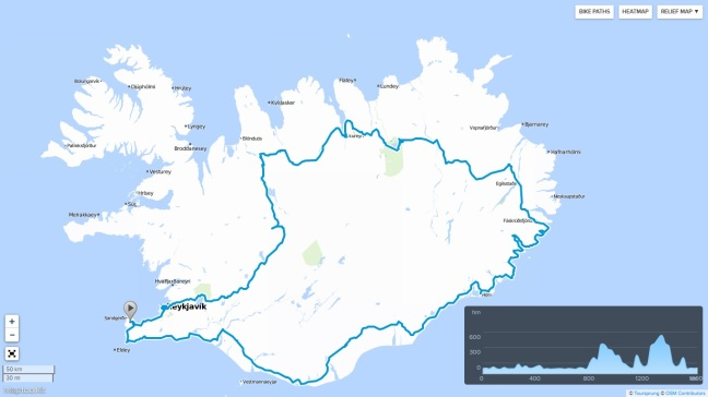mapa Islandia bikemap