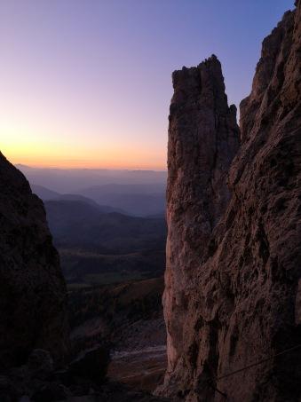 ostatnie momenty na trudny komin na ferracie Masare