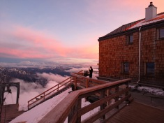 zachód słóńca w Alpach